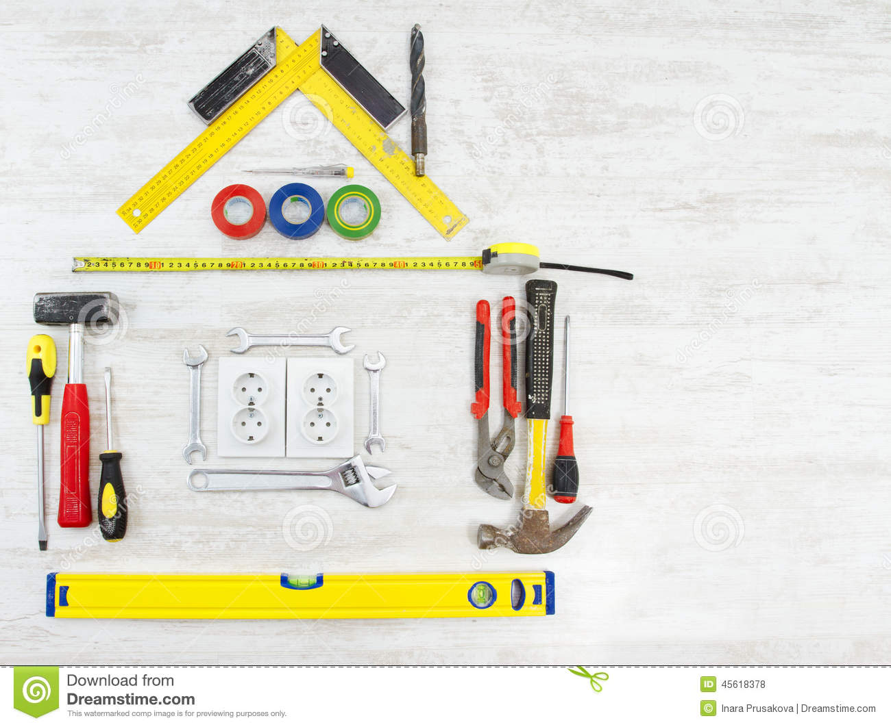 Tools Shape Of House Home Improving Repair Concept