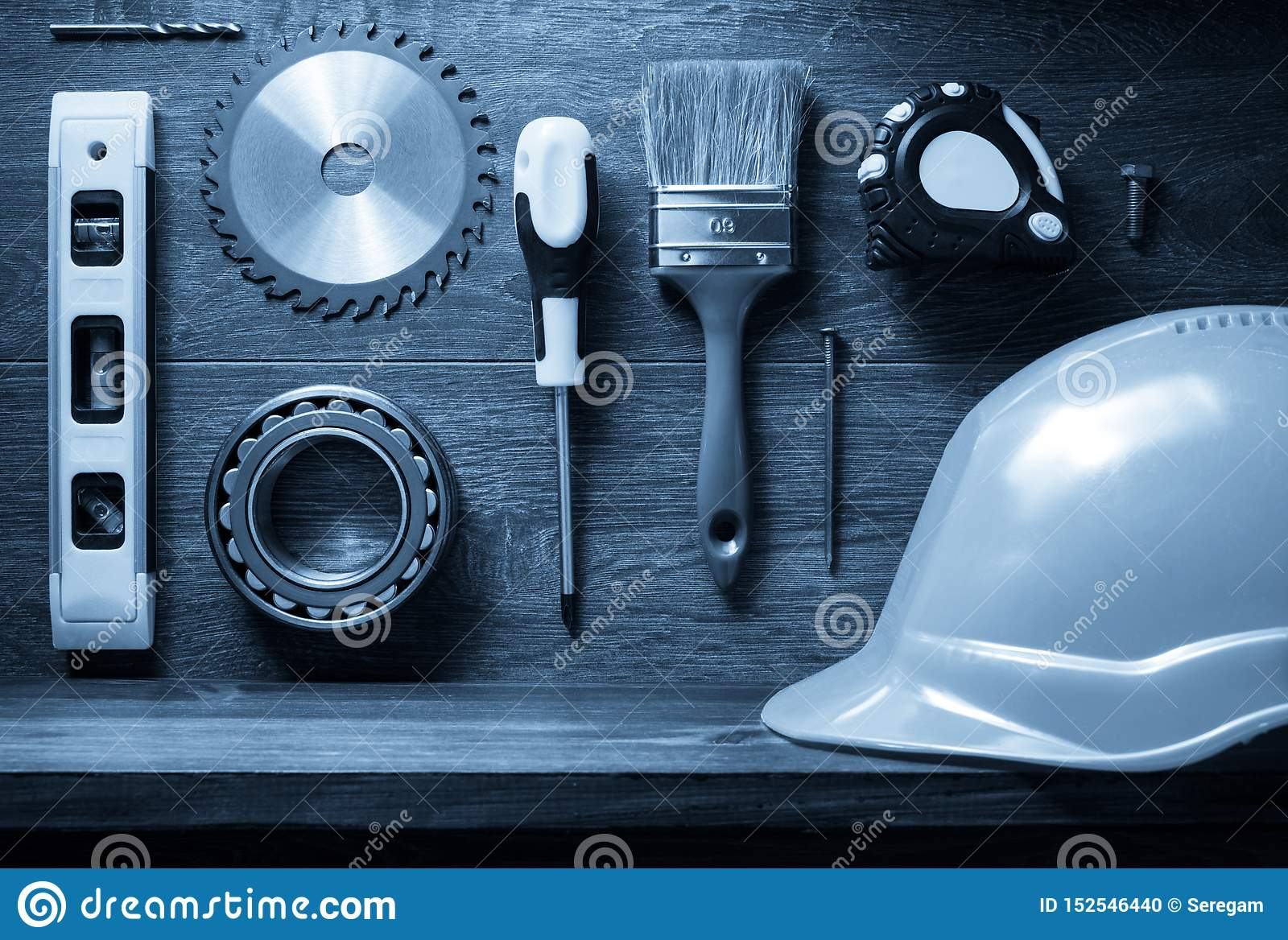 tools and shelf at brown background