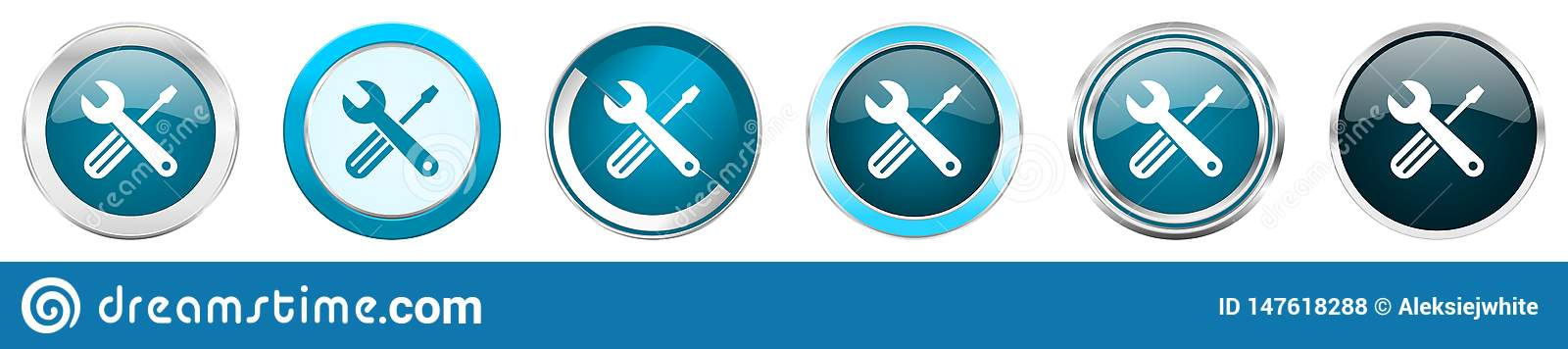 Tools Silver Metallic Chrome Border Icons In 6 Options ...