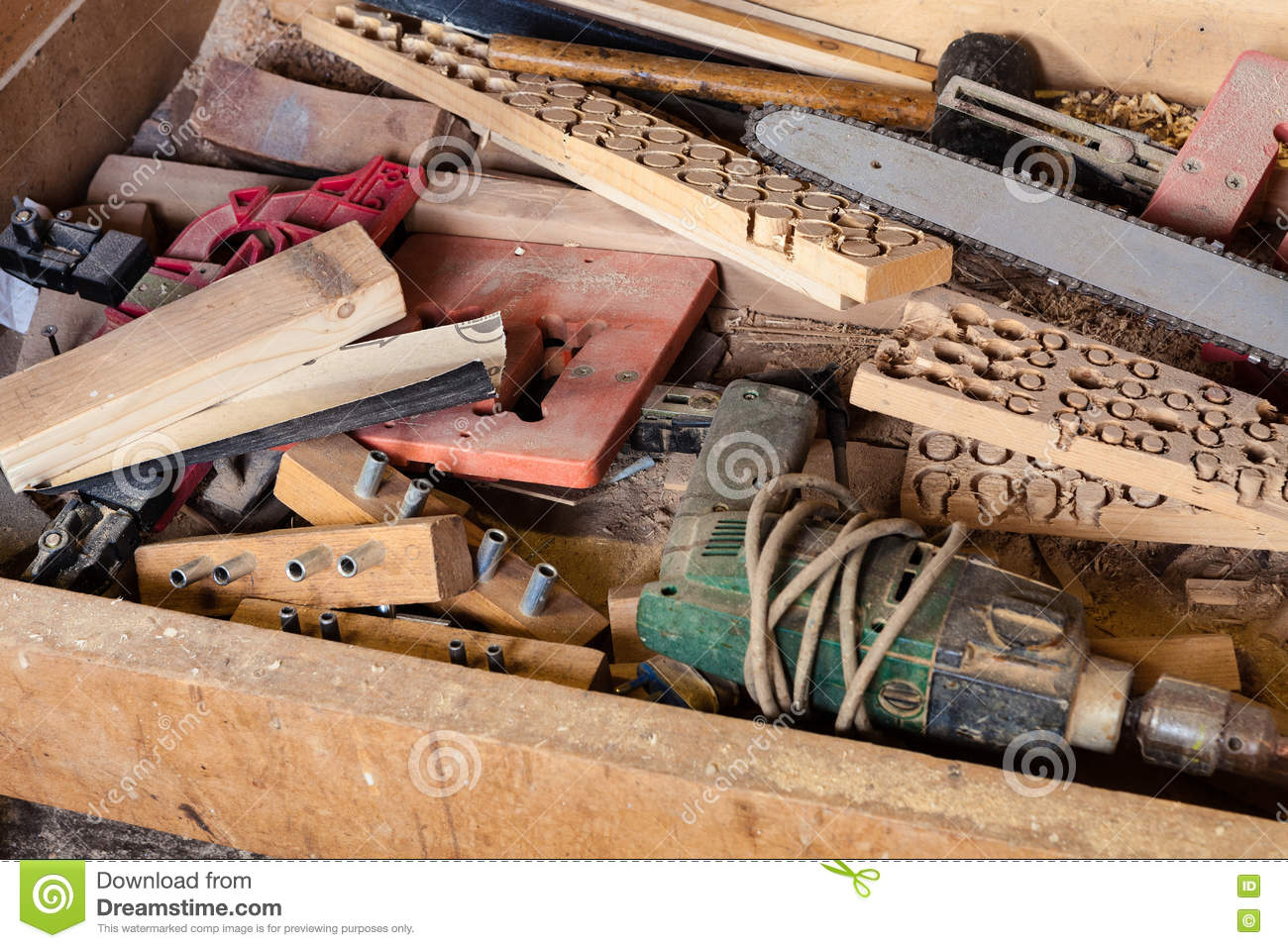 Tools And Supplies In Carpentry Workshop Stock Image Image Of