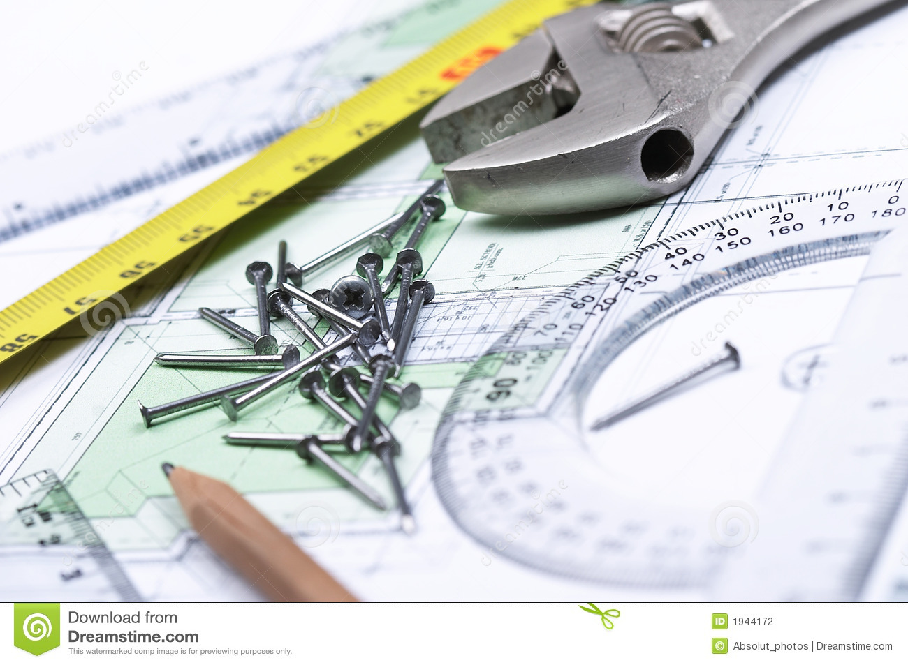 Tools On Top Of A Floor Plan Stock Photography Image