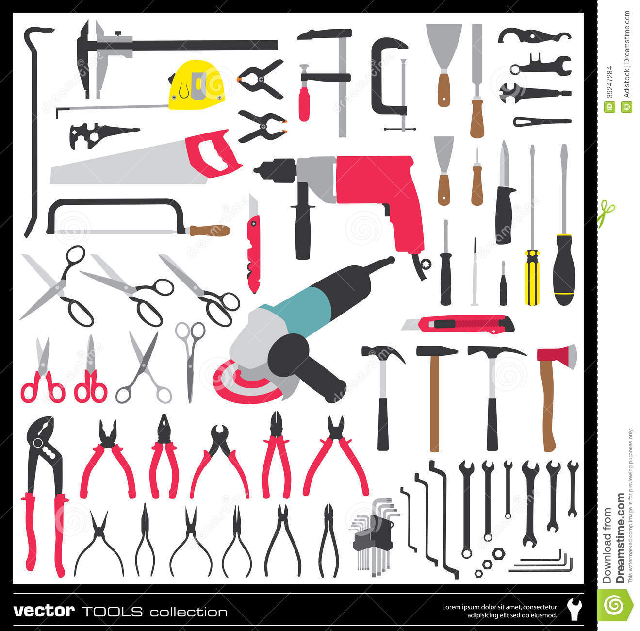 silhouettes of tools royalty free stock image 65346502. Black Bedroom Furniture Sets. Home Design Ideas