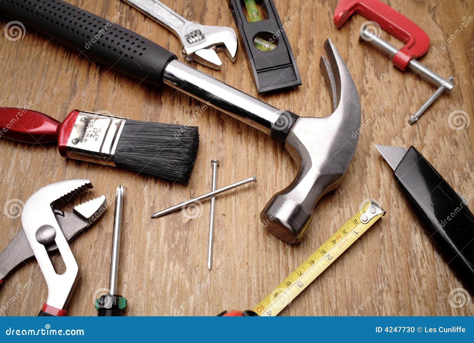 Tools On Wood Background Stock Photo Image Of Knife Closeup 4247730