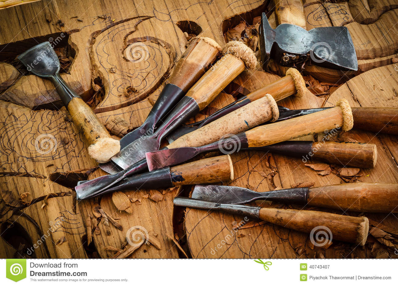 Tools of the woodcarver stock image Image of sharp