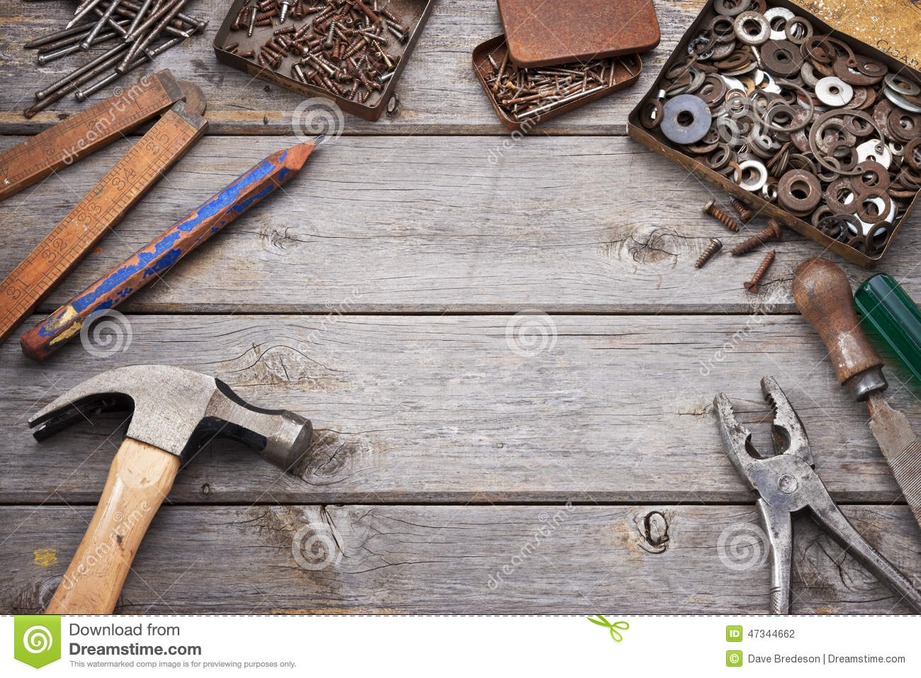 Tools Workbench Wood Background Stock Photo - Image: 47344662