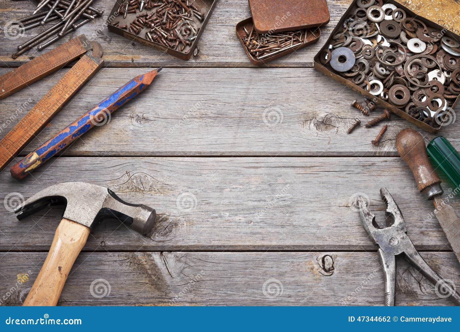 Tools Workbench Wood Background Stock Photo Image 47344662