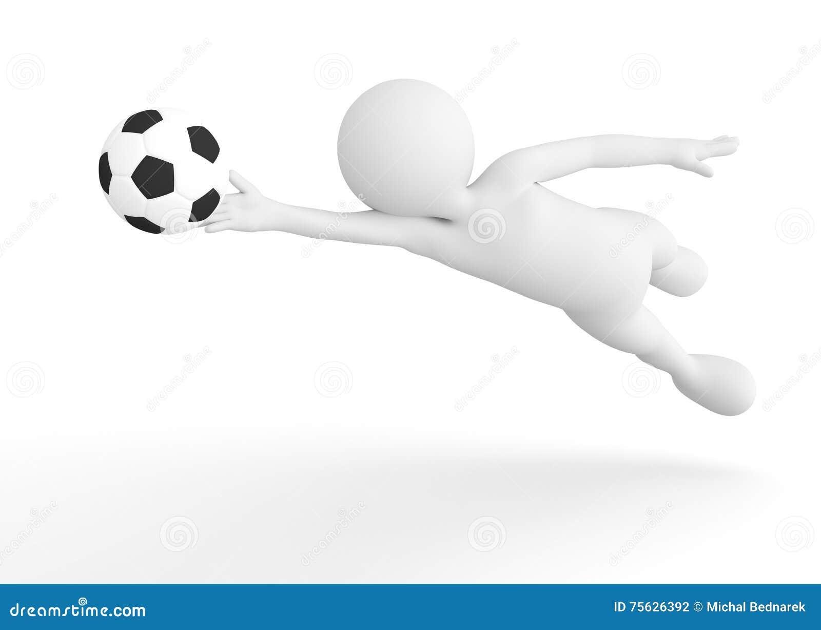 Toon mężczyzna piłki nożnej bramkarz ratuje piłkę od celu pojęcia kąta pola futbolowe trawy zielone liny