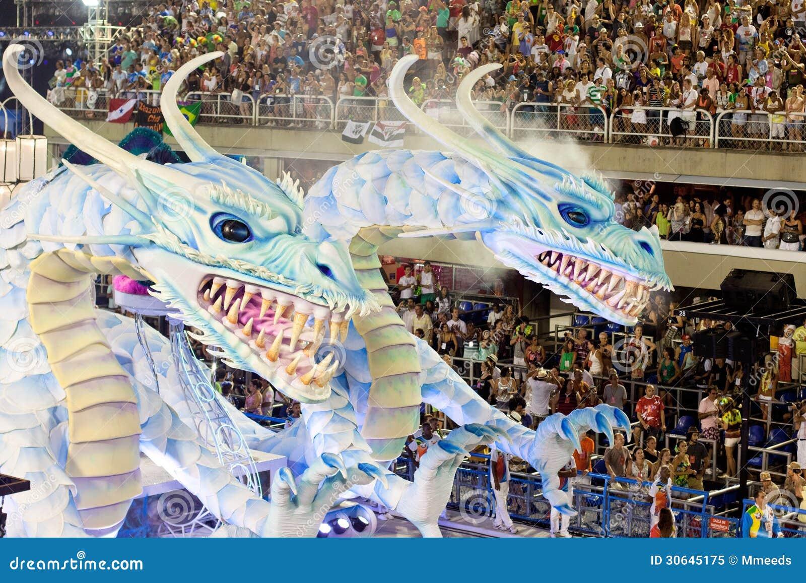 Toon met decoratie van draken op carnaval sambodromo in rio redactionele afbeelding afbeelding - Afbeelding van decoratie ...