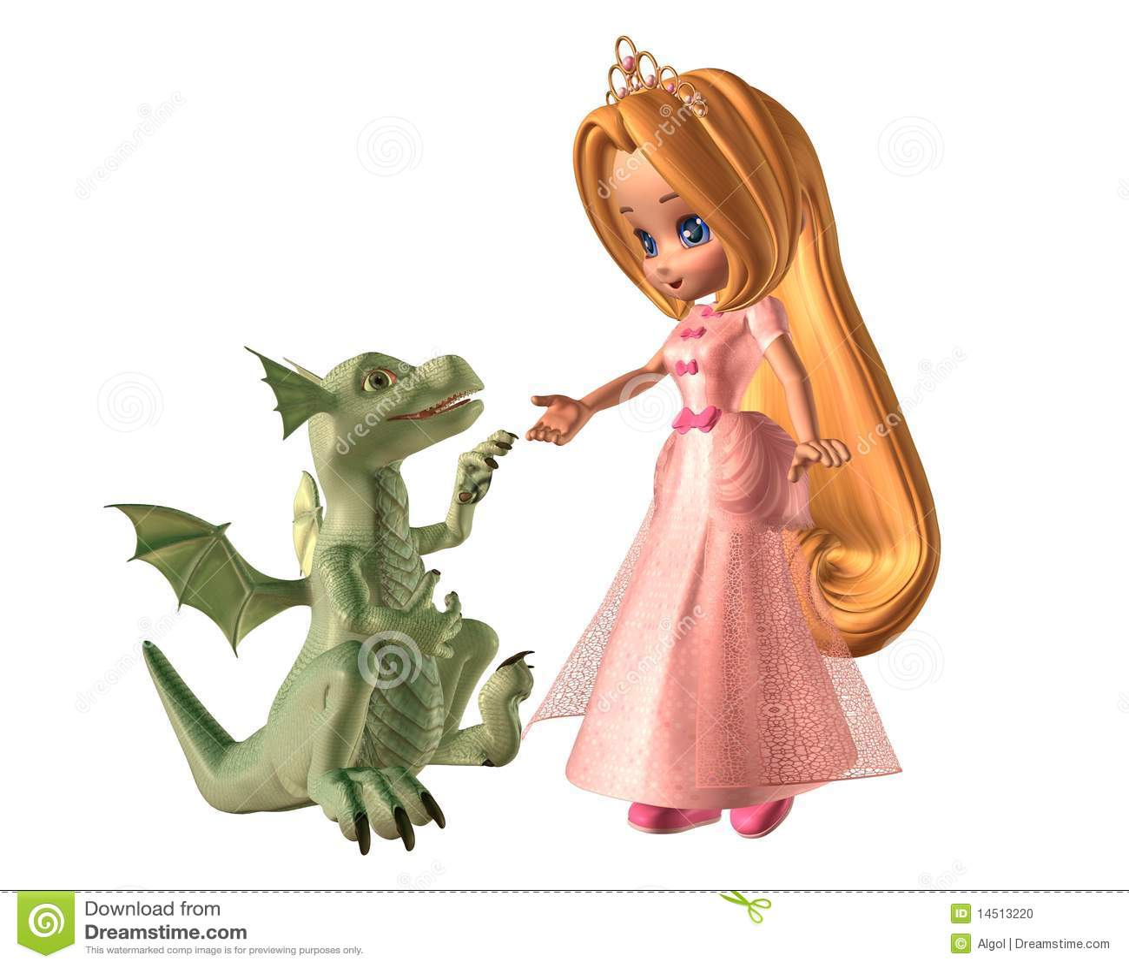 Toon Princess And Baby Dragon Stock Illustration Image