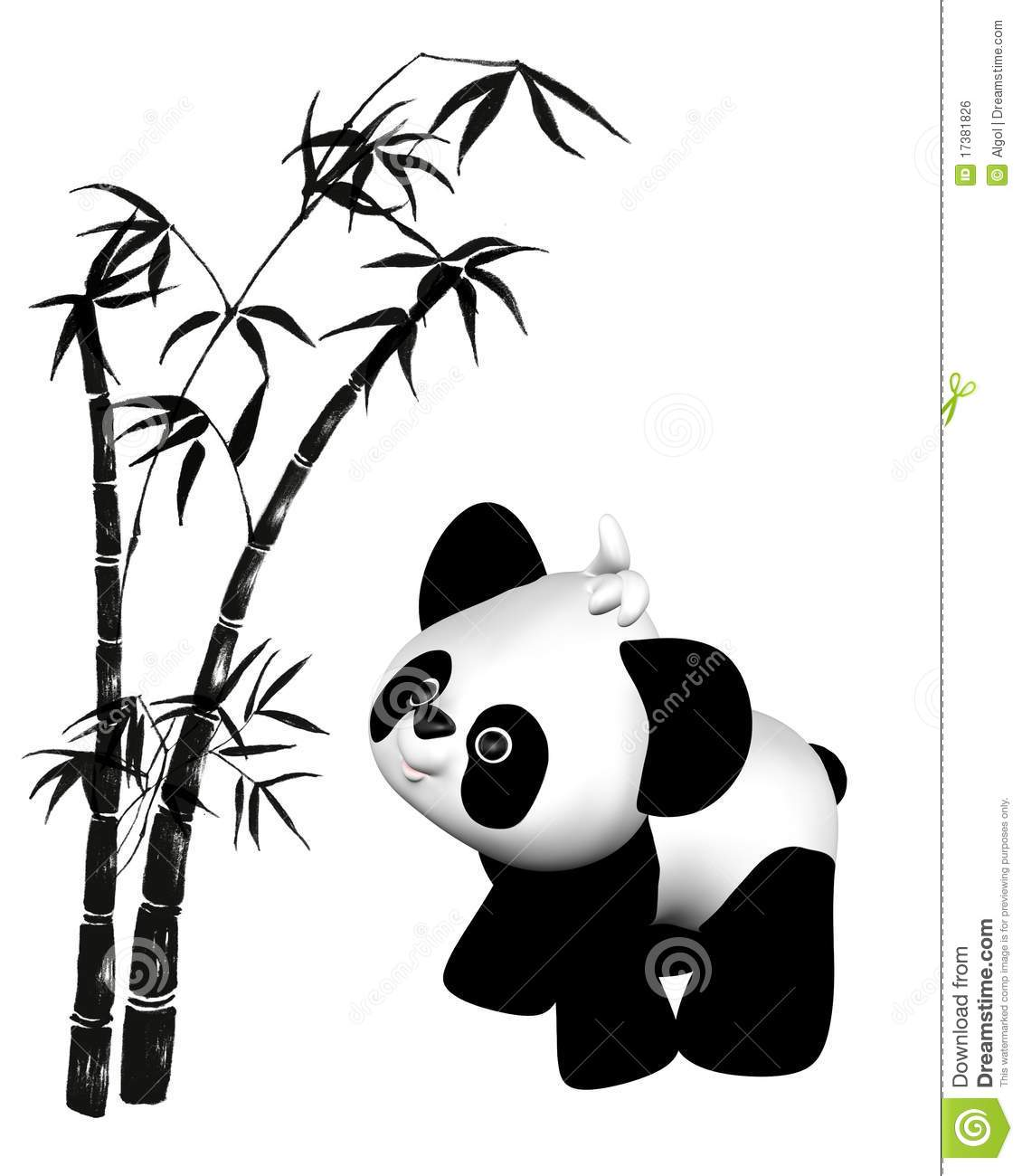 Toon Toy Panda And Bamboo Royalty Free Stock Image Image 17381826