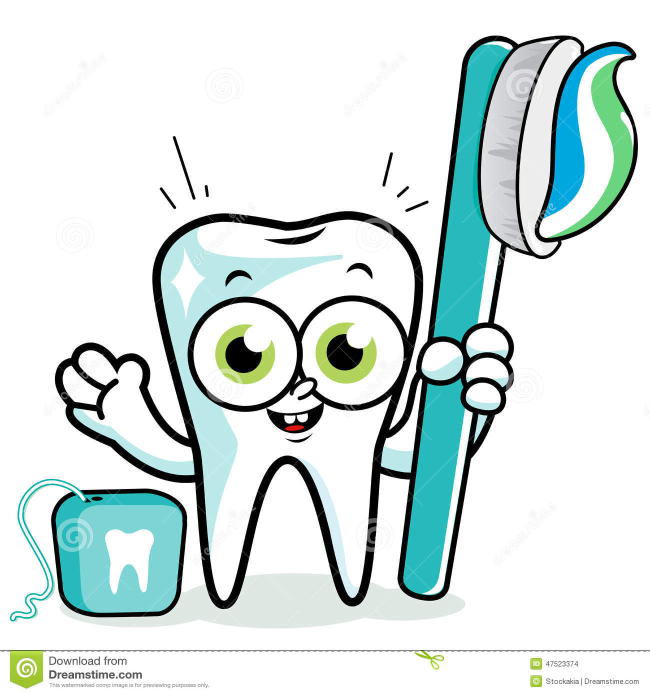 tooth cartoon holding toothbrush and dental floss stock