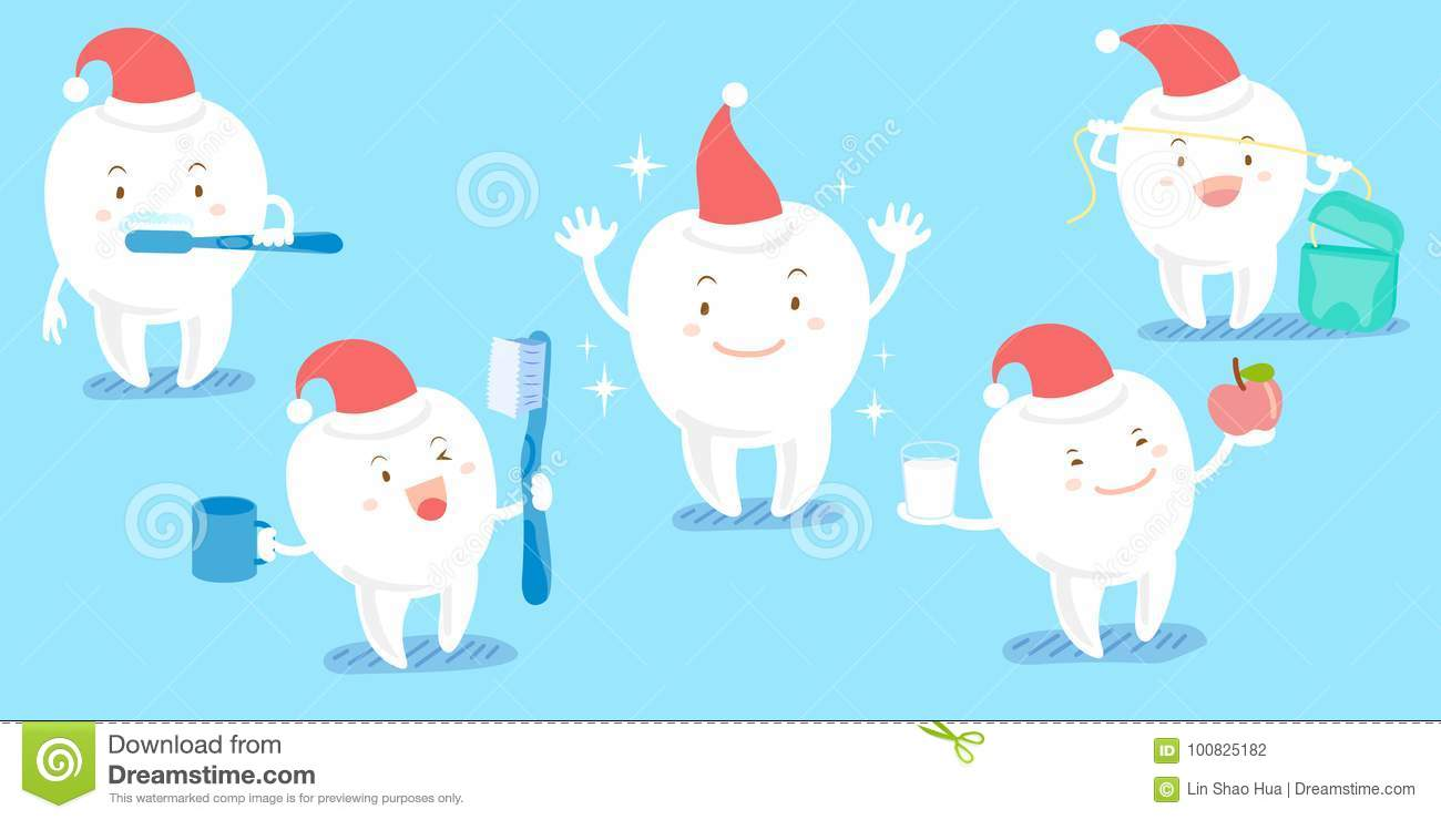 Christmas Cartoon Tooth With Floss Vector Illustration ...