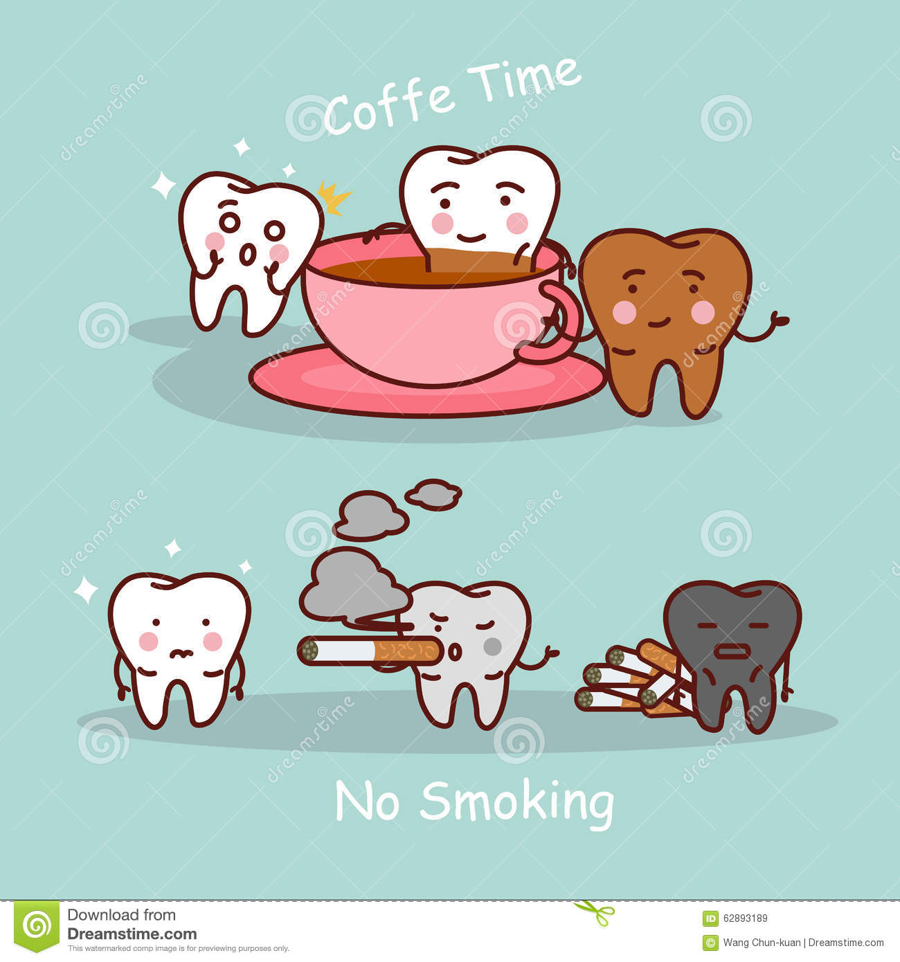 Tooth With Coffee And Smoke Stock Vector Illustration Of Oral