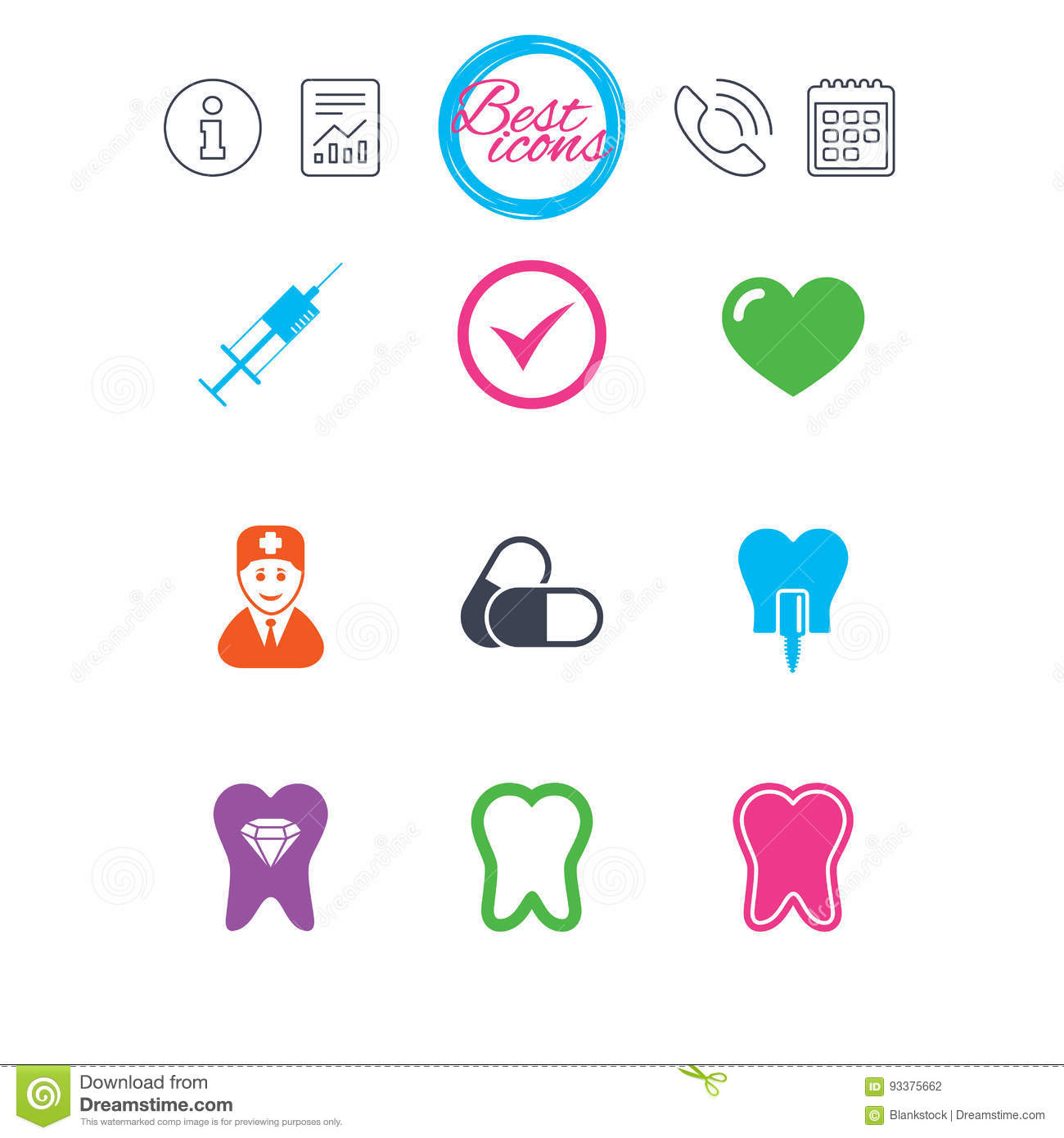 Tooth Dental Care Icons Stomatology Signs Stock Vector