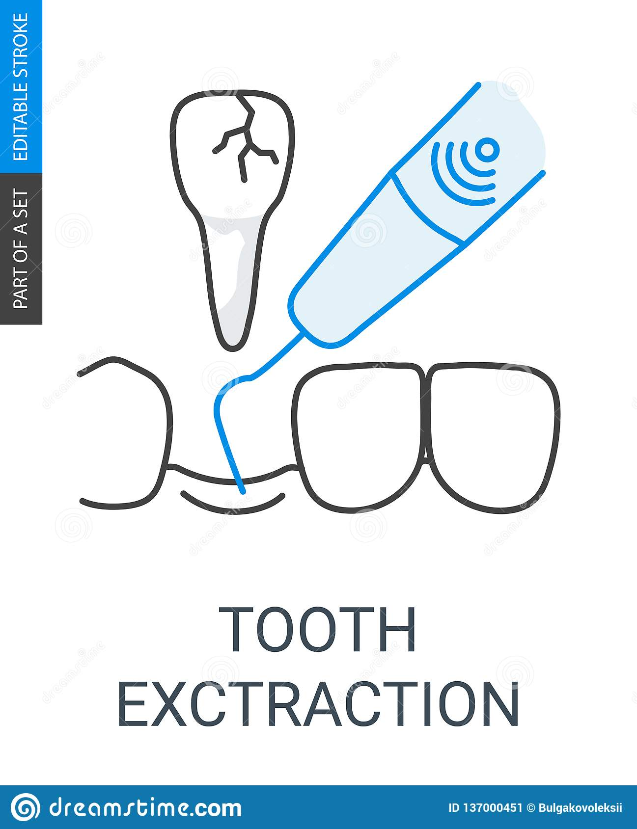 Tooth extraction icon  stock vector  Illustration of loss
