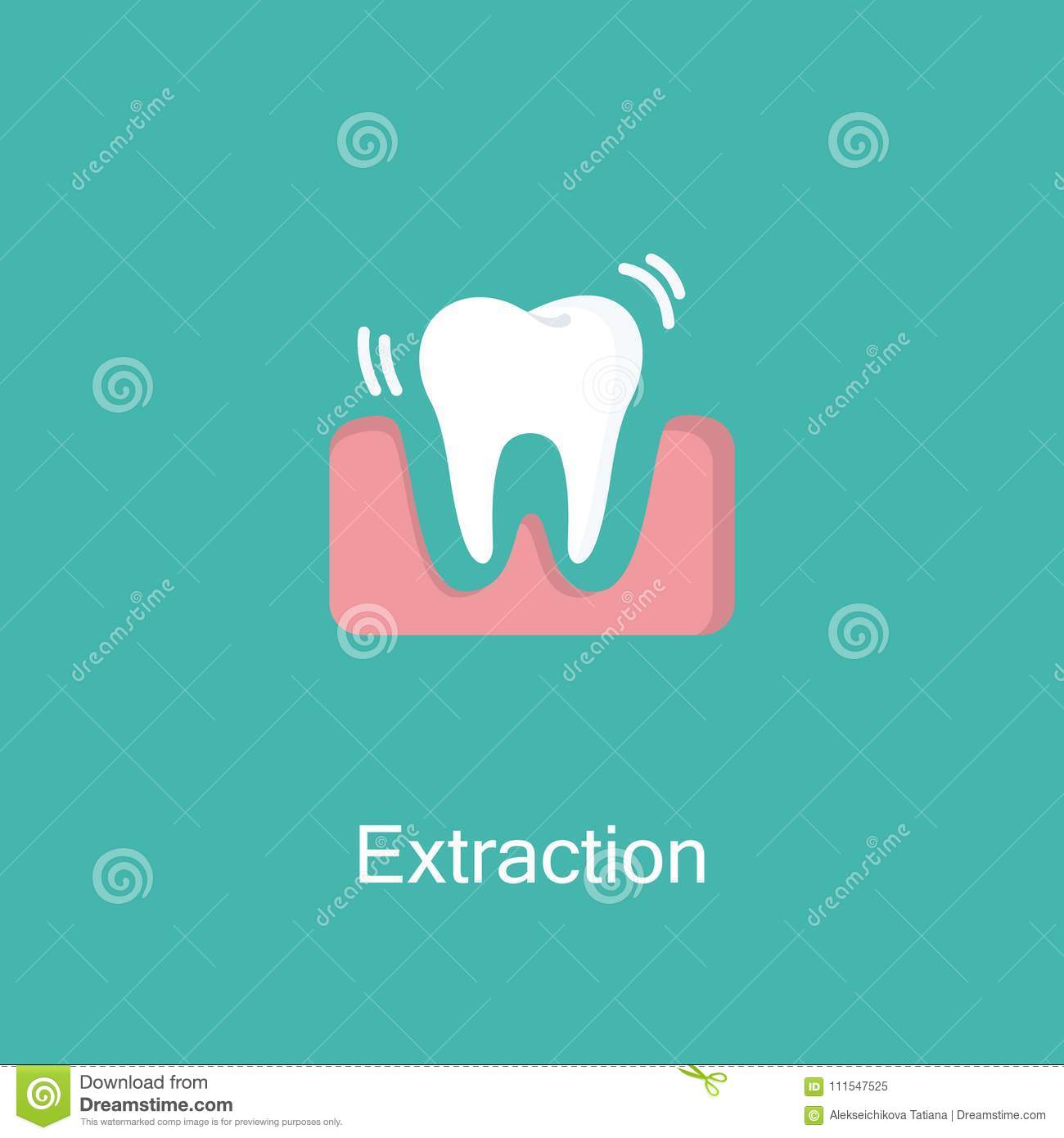 Tooth Extraction Vector Flat Icon  Stock Vector