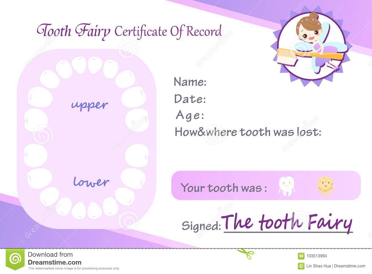 Tooth Fairy Certificated Record Stock Illustration Illustration Of
