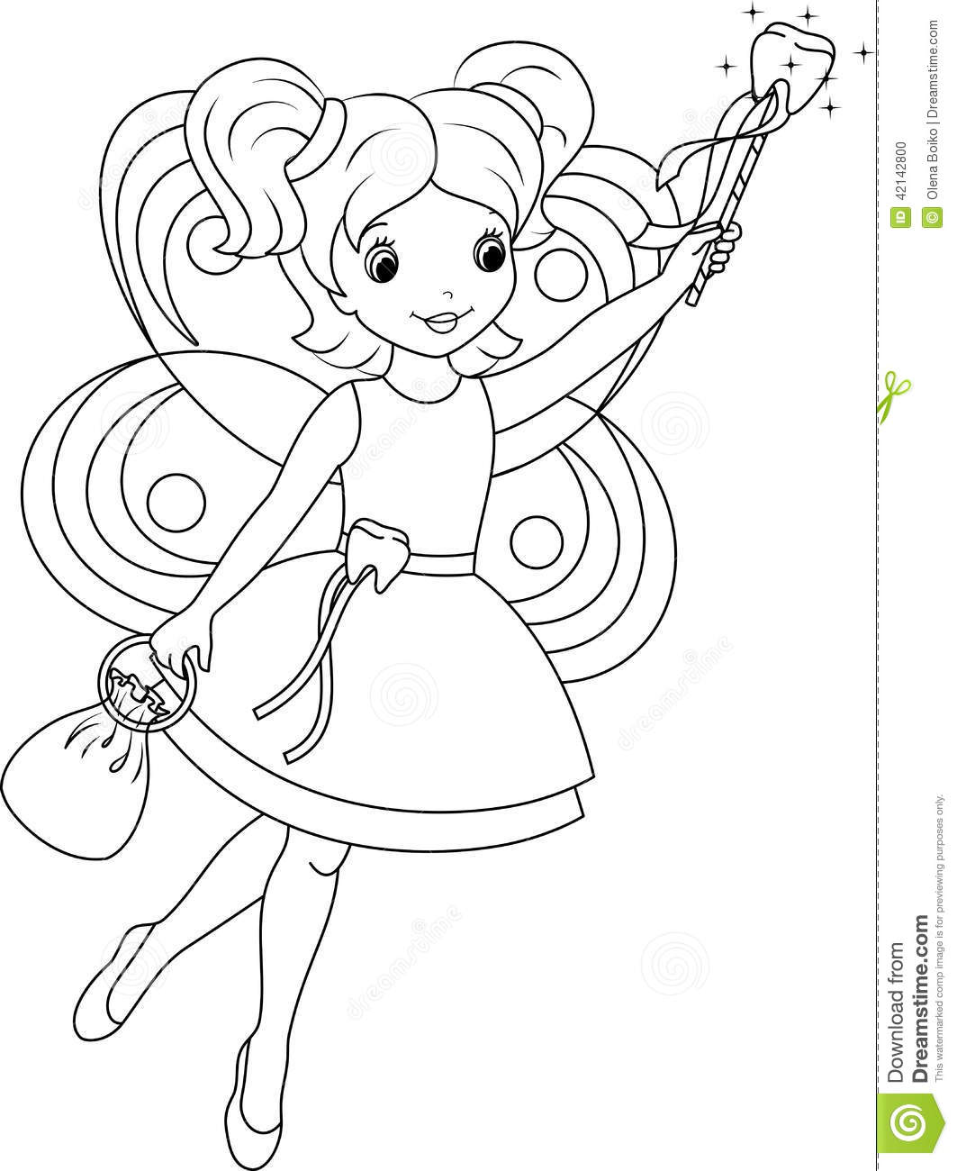 Tooth Fairy Coloring Page Stock Vector