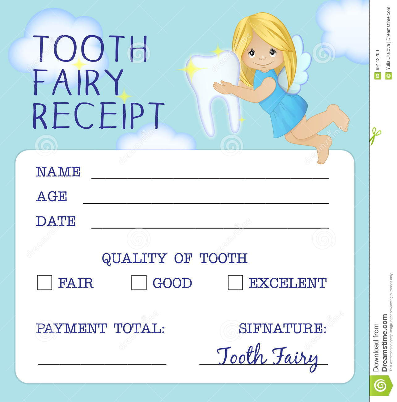 Tooth Fairy Receipt Certificate Design Stock Vector Illustration