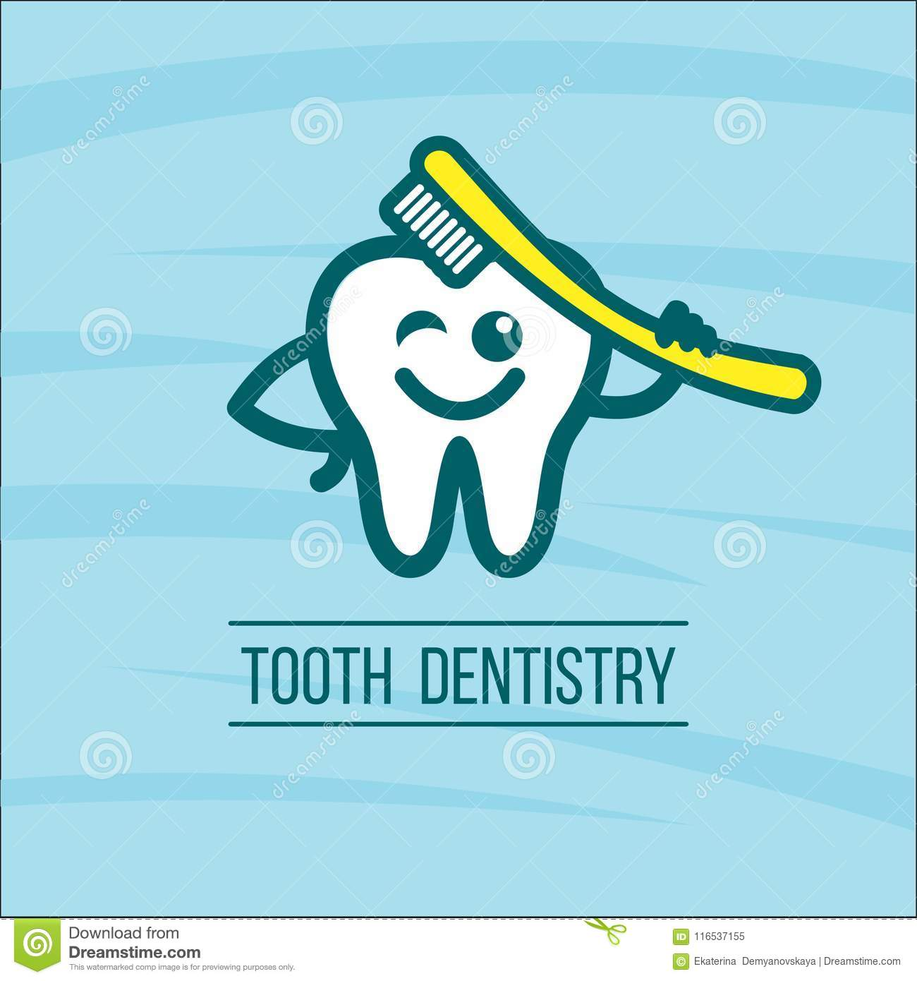 Dentist Tooth And Toothbrush  Vector Logo Of The Dental