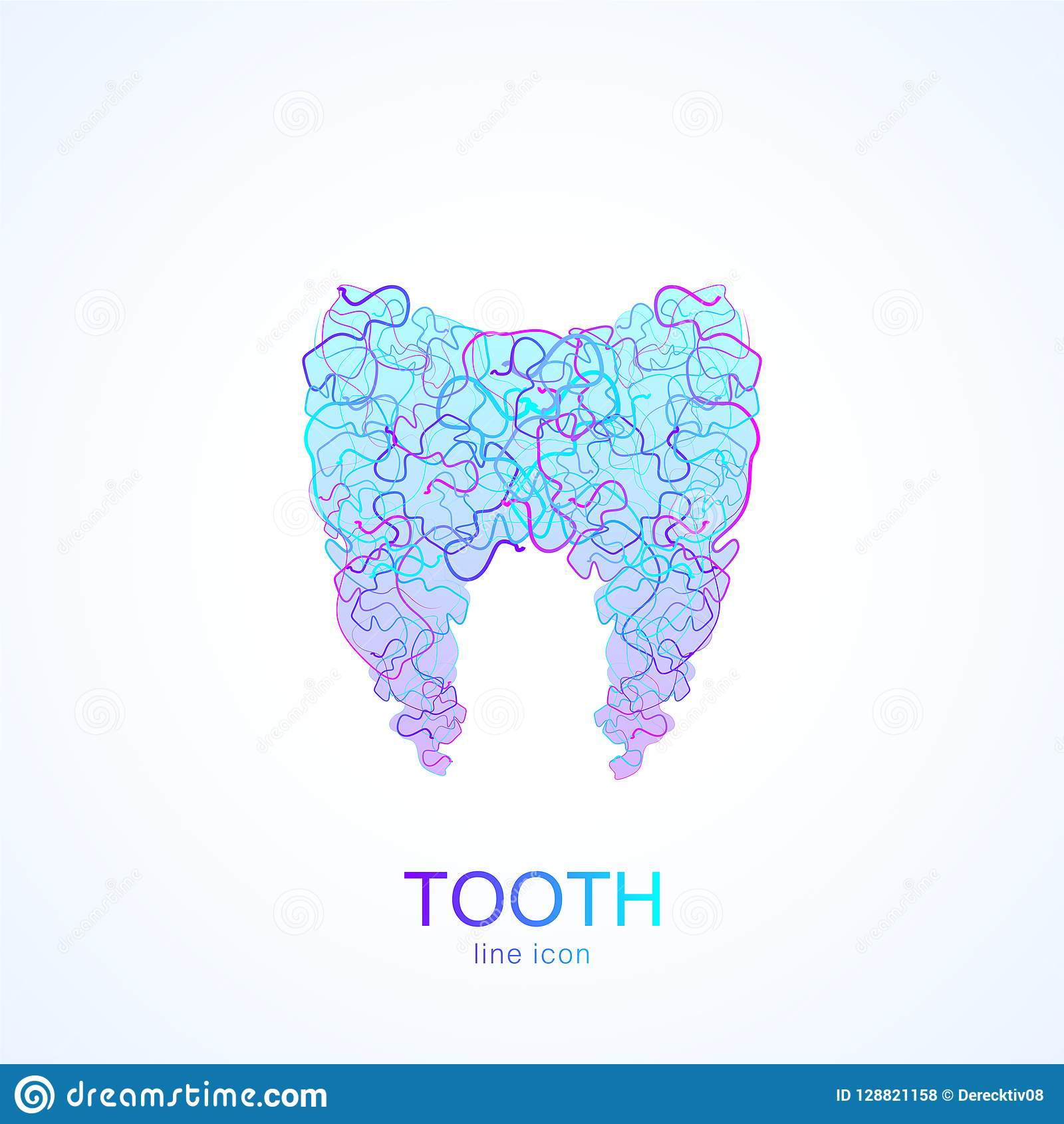 Tooth Logo In Linear Dental Clinic Tooth Abstract Design Vector