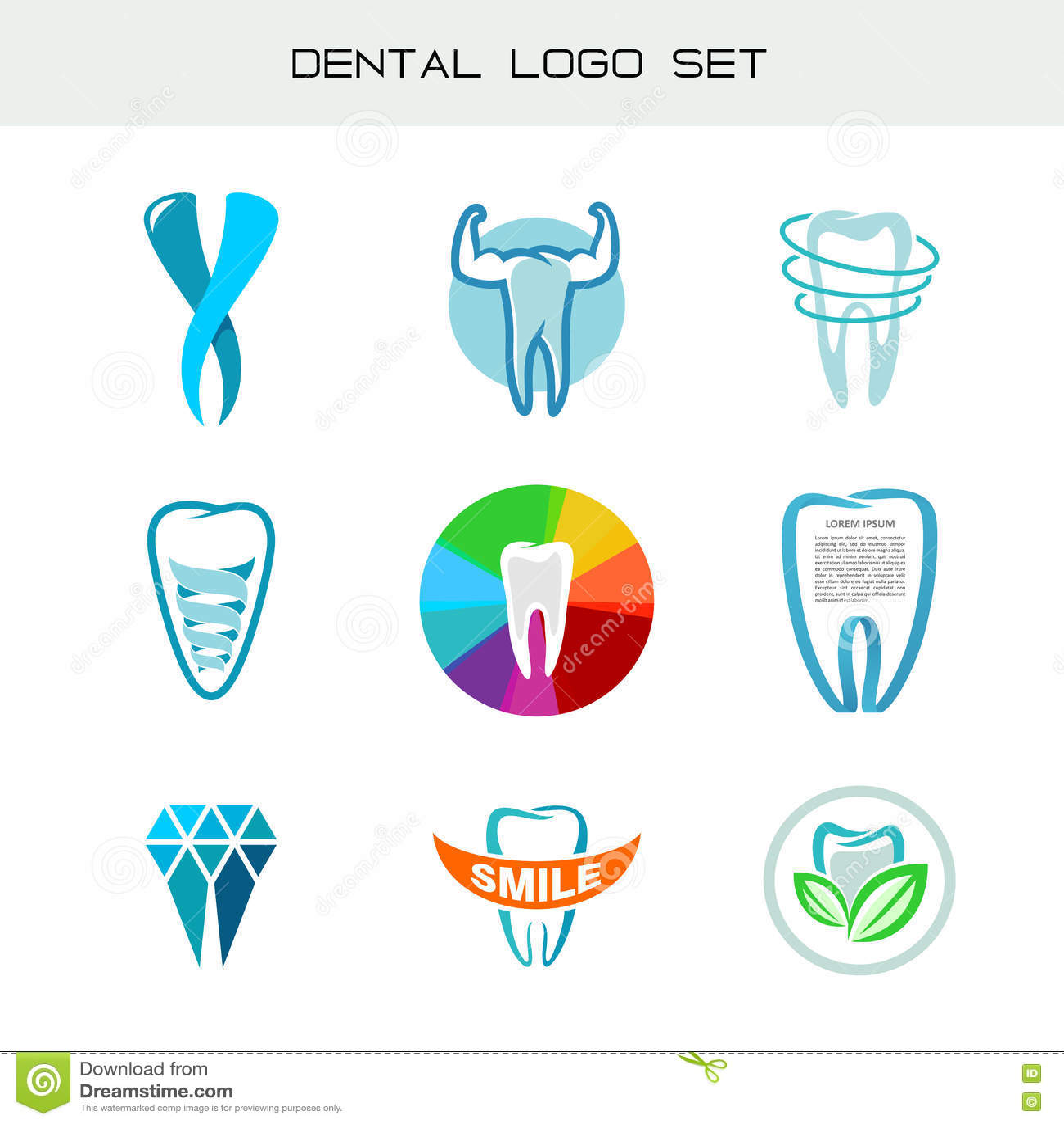 Tooth Logo Set . Dental Medical Healthcare Symbols. Stock