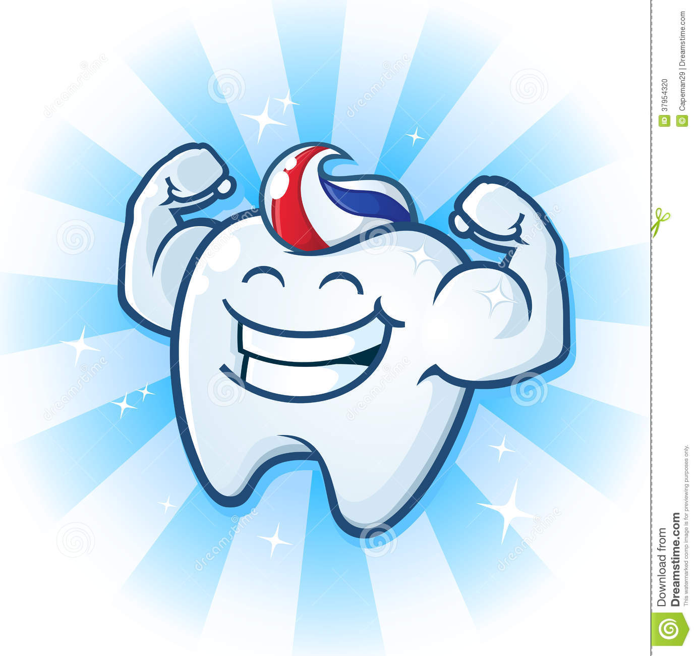 1 Toothed Cartoon Characters : Tooth mascot muscle man dental cartoon character stock