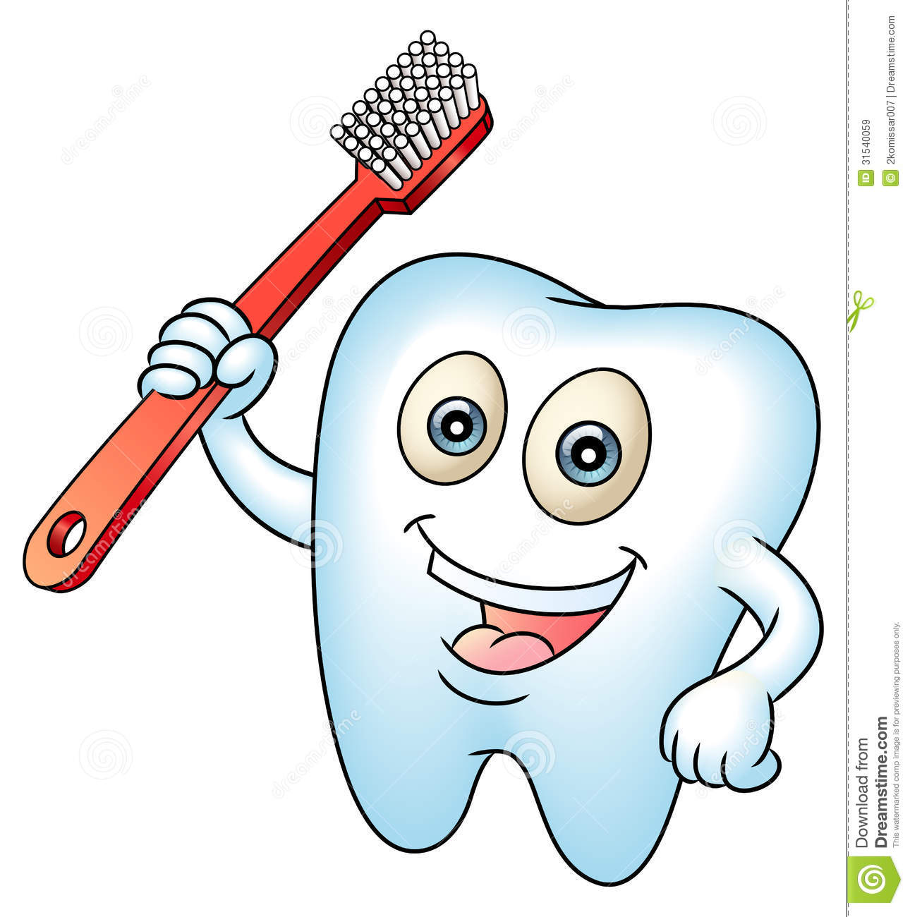Smiling tooth mascot teeth with a tooth-brush. Clean teeth for health ...