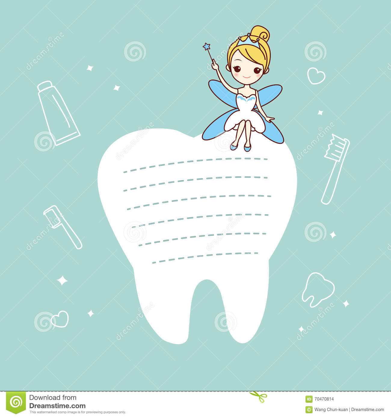 tooth note with tooth fairy stock vector image 70470814