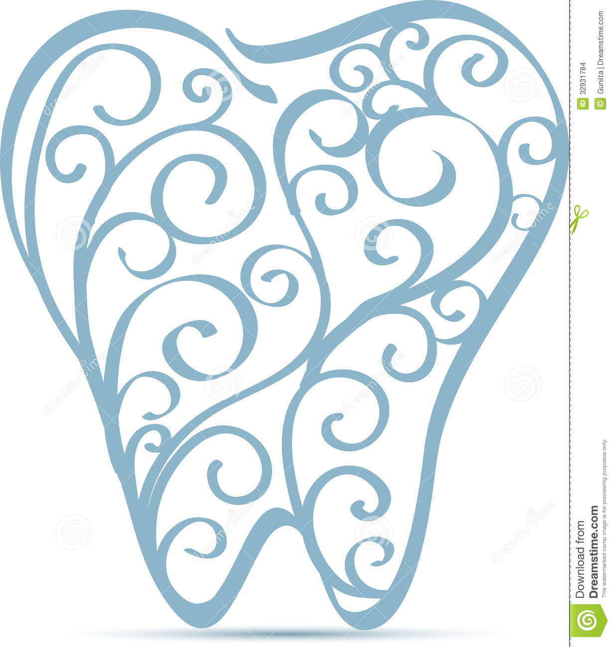 Abstract tooth design. Beautiful design with swirl elements.