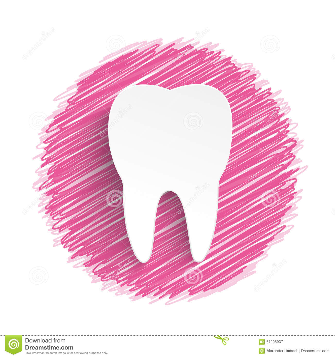 Tooth Pink Scribble Stock Vector Image 61905937