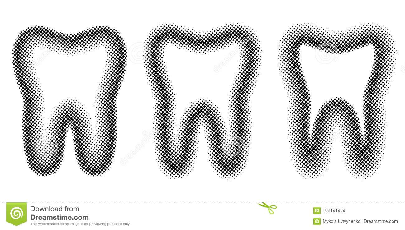 tooth set dots halftone effect vector template teeth molar halftone