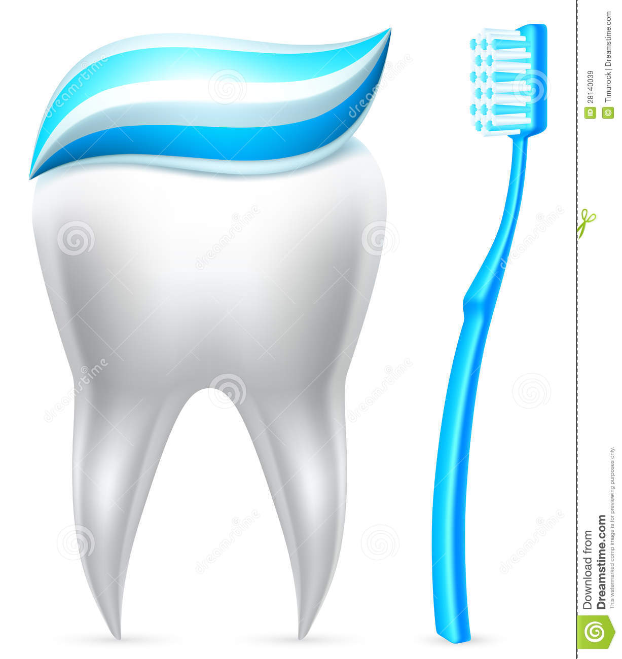 tooth with toothpaste and toothbrush  royalty free stock