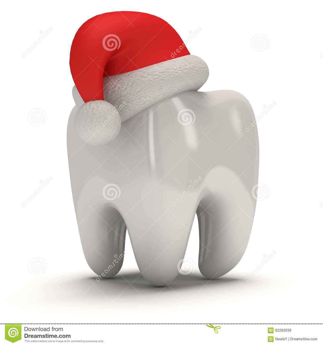 Tooth Wearing Santa Claus Hat Stock Illustration - Illustration of ...