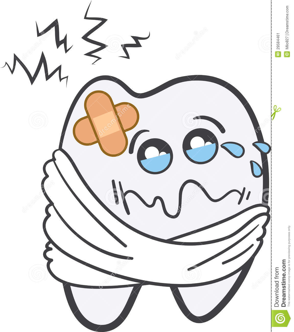 Toothache character in pain with bandage.