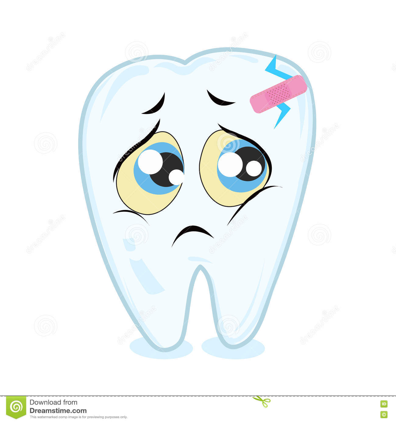 Toothache Sad Tooth Vector Background Stock Vector Illustration