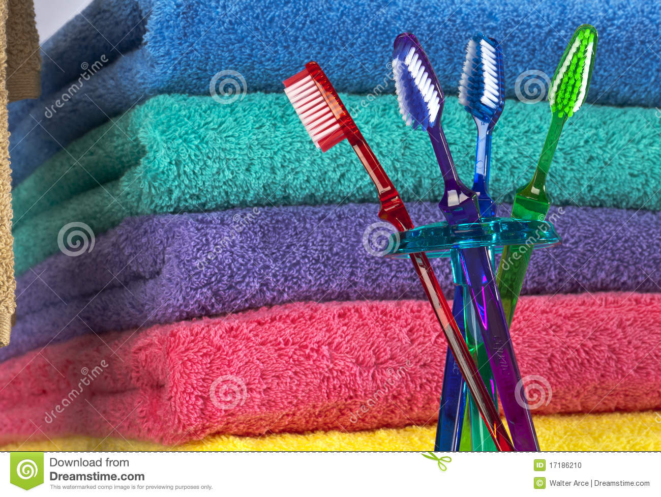 Toothbrush and Bath Towels
