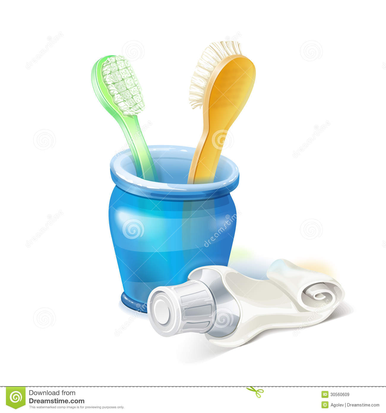 Toothbrush, Glass And Toothpaste Royalty Free Stock Images - Image ...