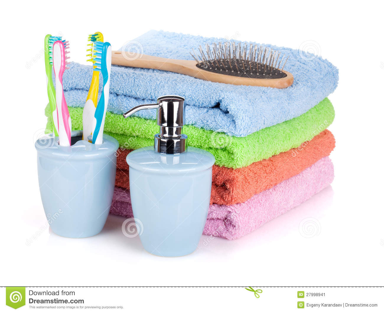 Toothbrushes Liquid Soap Hairbrush And Towels Stock