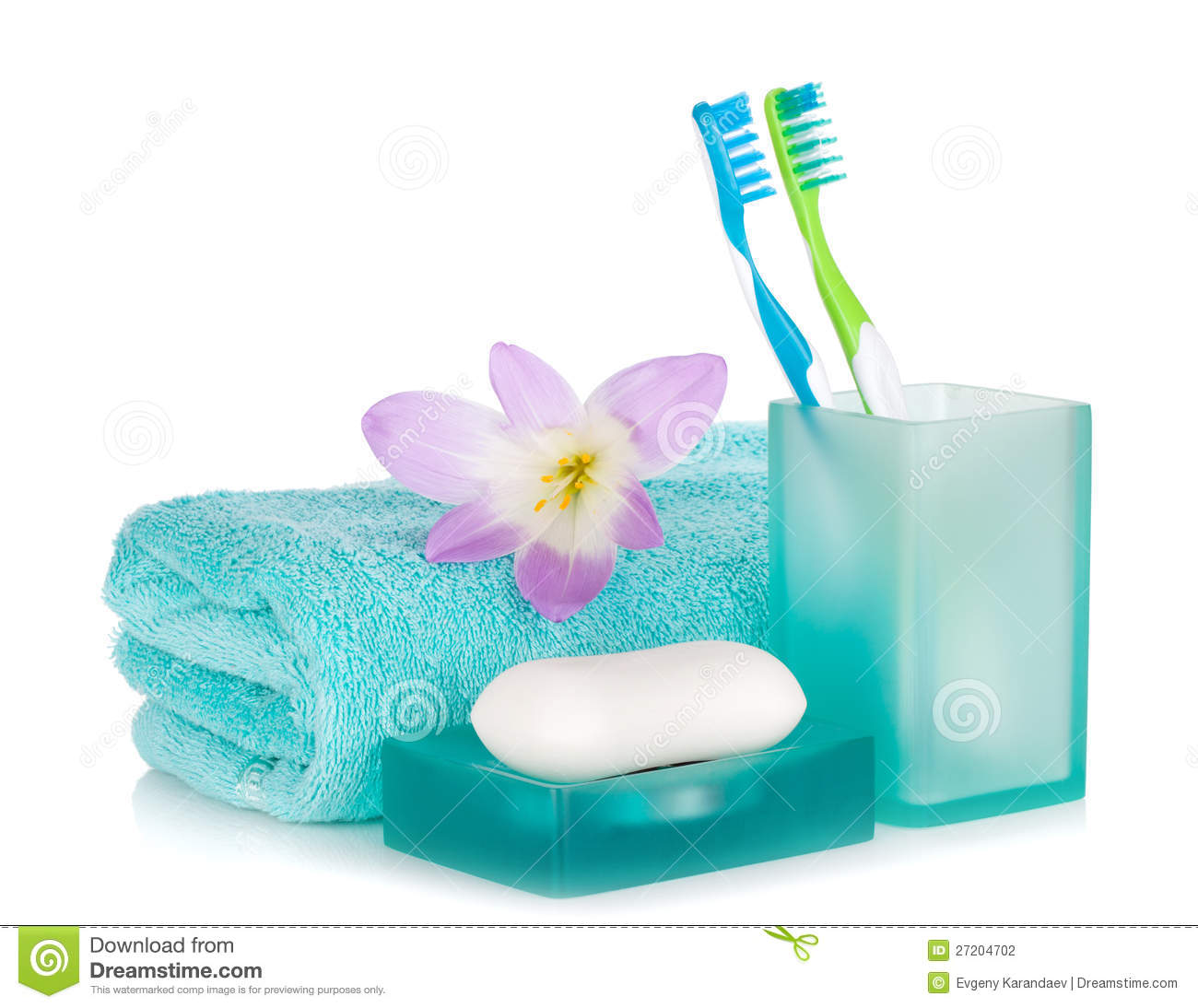 Toothbrushes Soap Towel And Flower Stock Photography