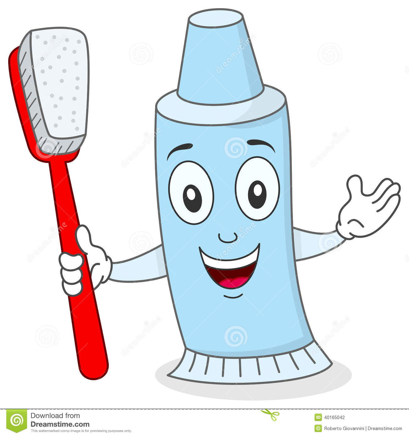 Toothpaste With Toothbrush Character Stock Vector - Image: 40165042