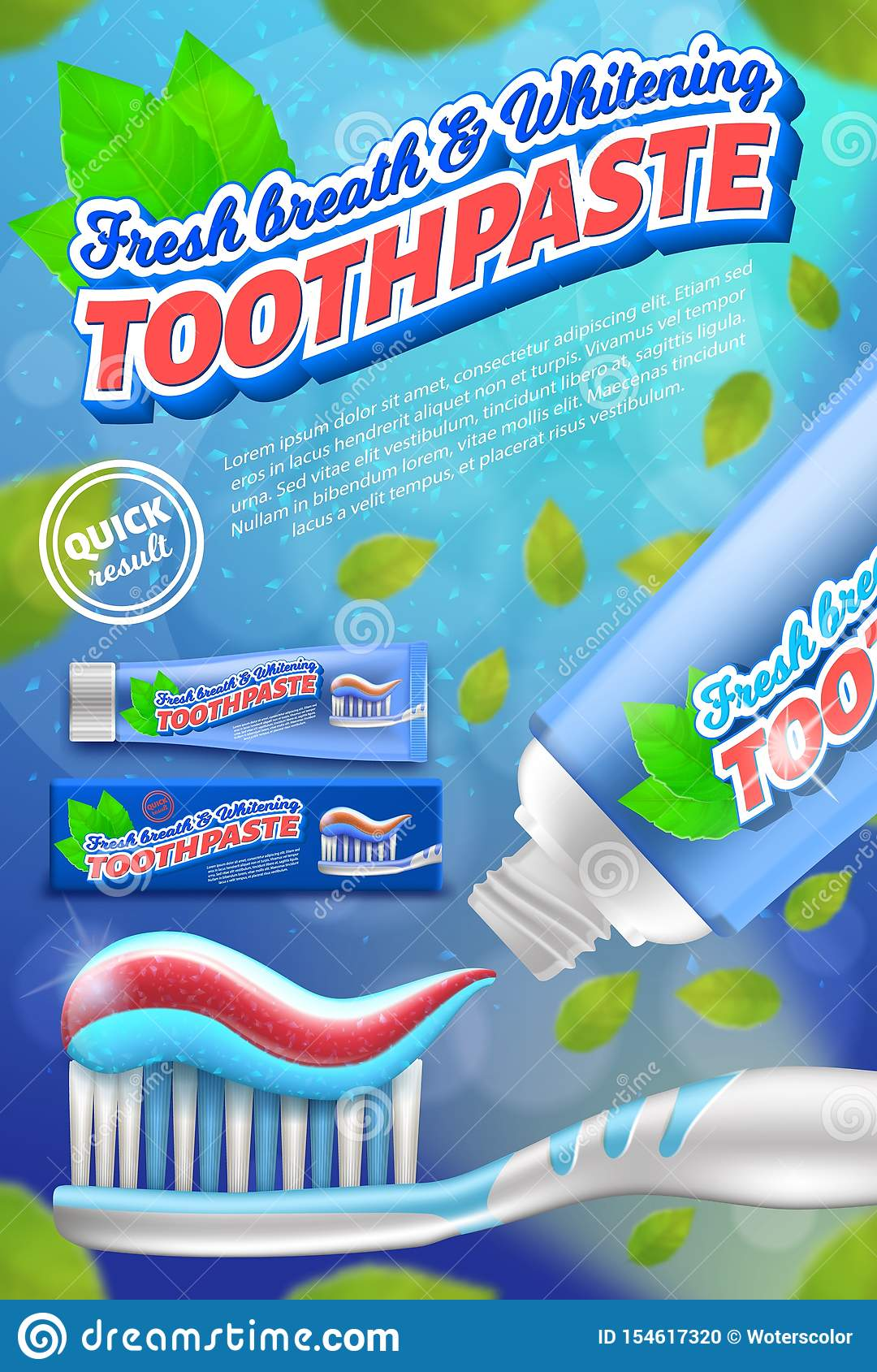 Toothpaste And Toothbrush Design Concept. Realistic Vector ...