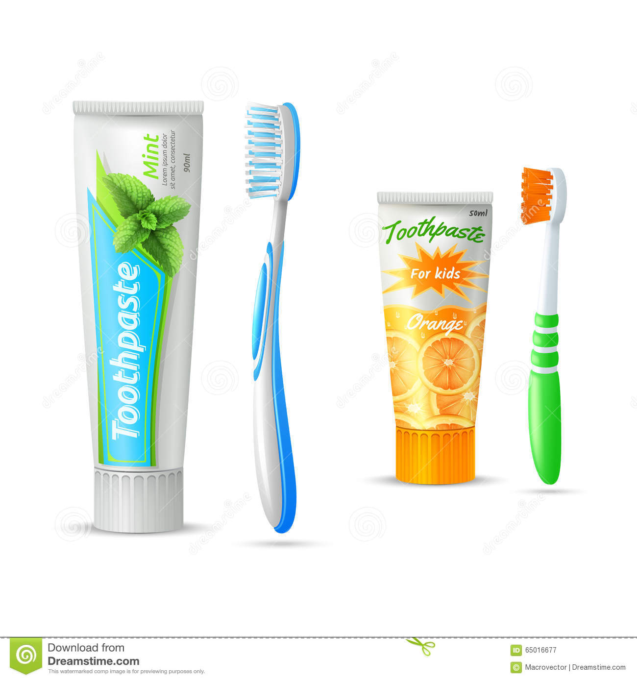 Toothpaste And Toothbrush For Kids And Adults Stock Vector ...