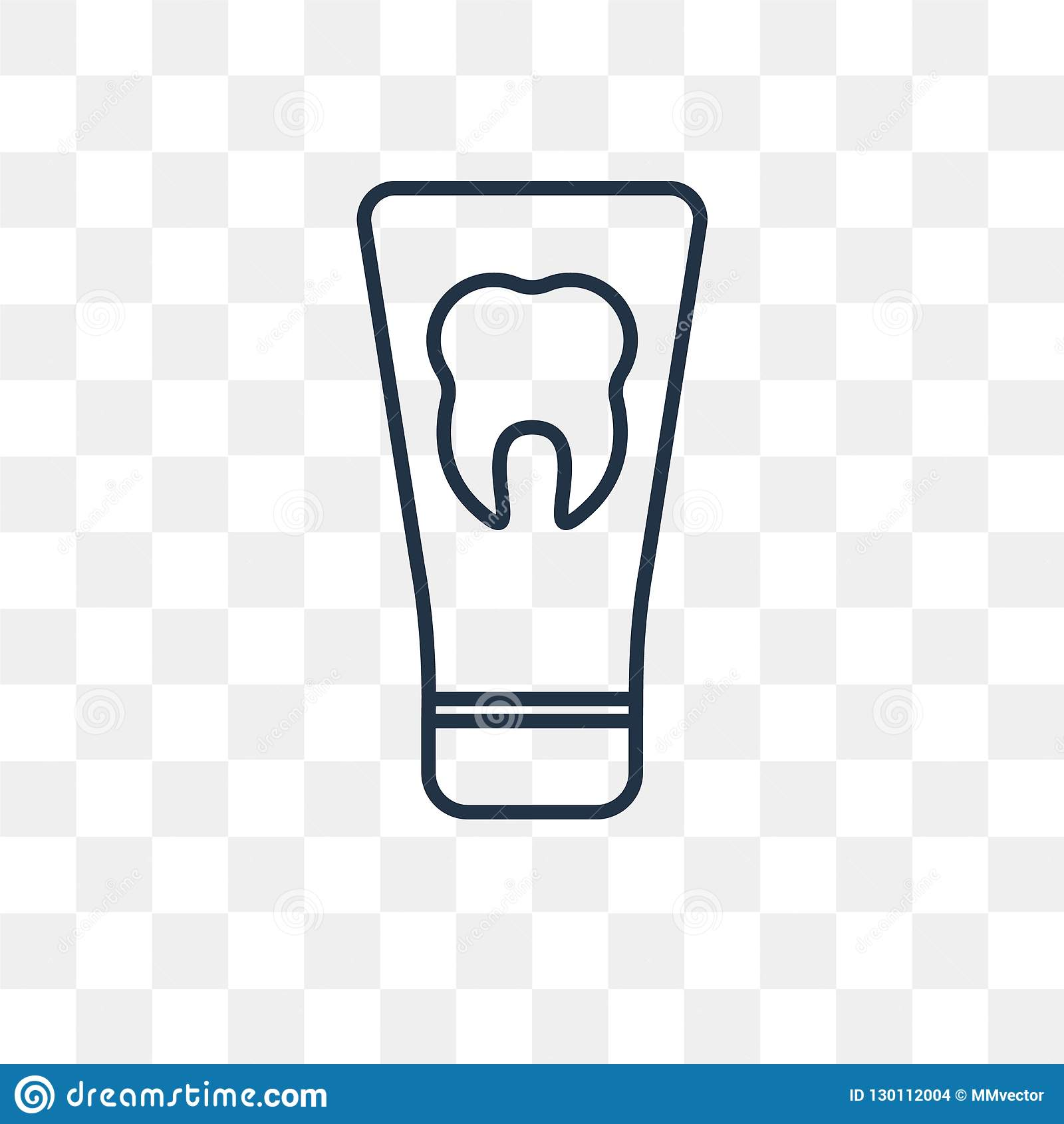 Toothpaste Vector Icon On Transparent Background, Linea Stock Vector