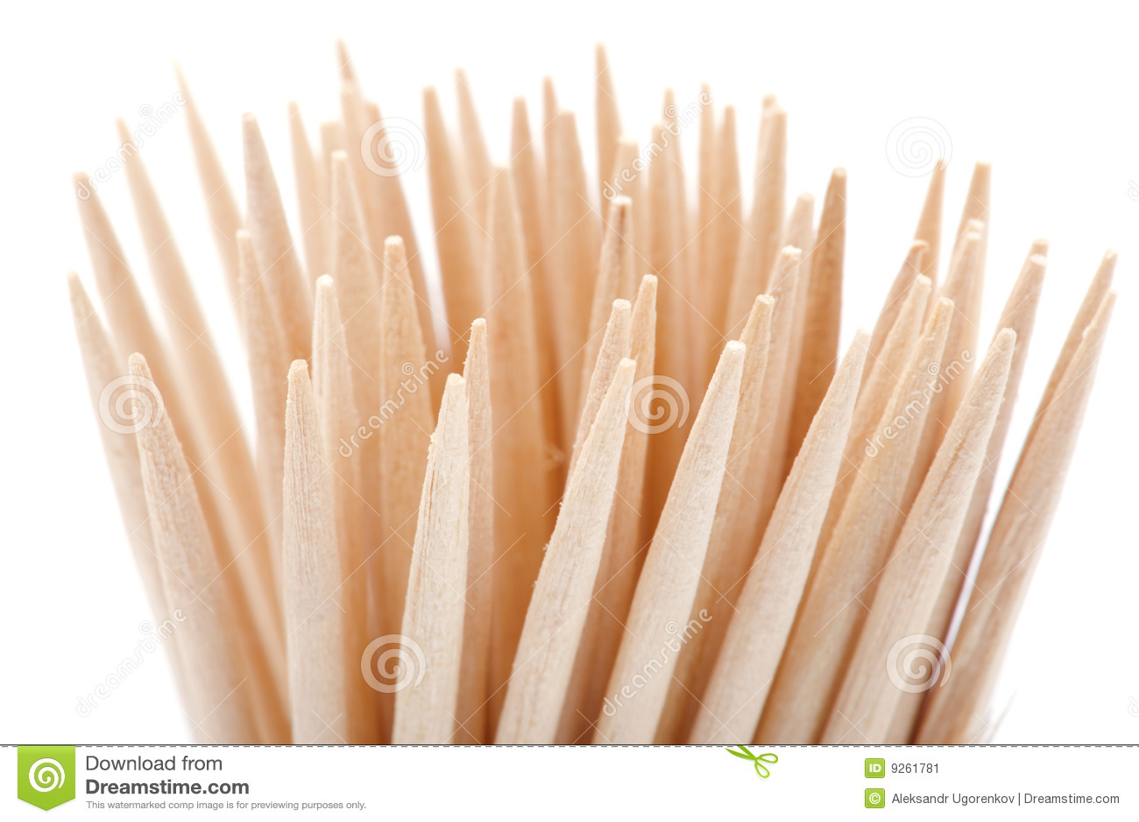 Toothpick en el fondo blanco
