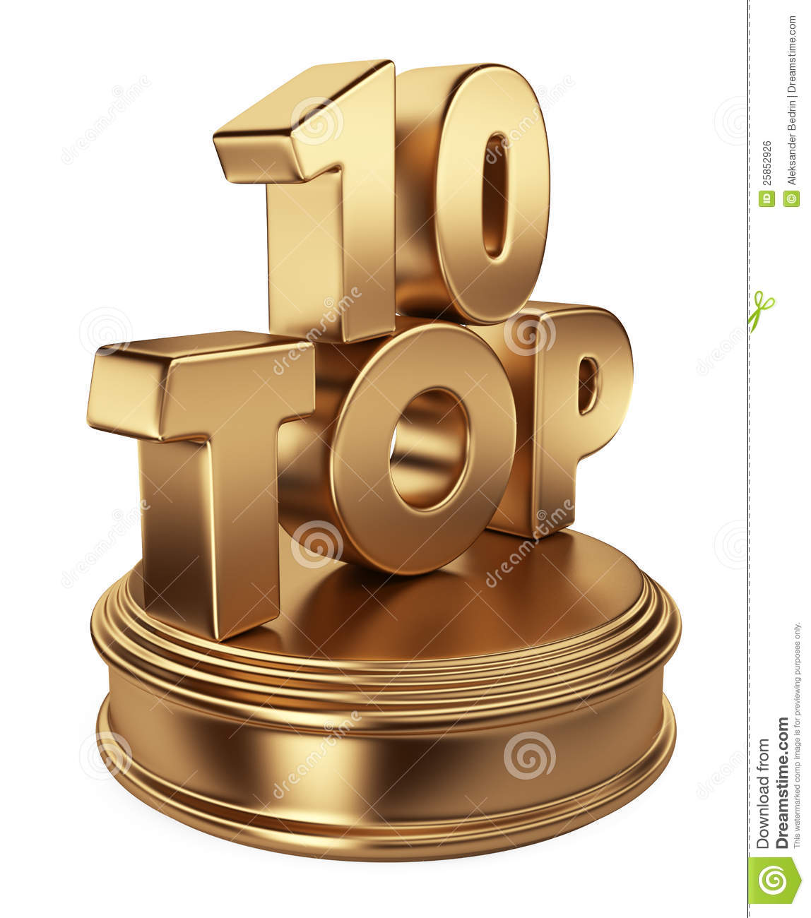 Top 10 On Podium. 3D Icon Isolated Stock Illustration