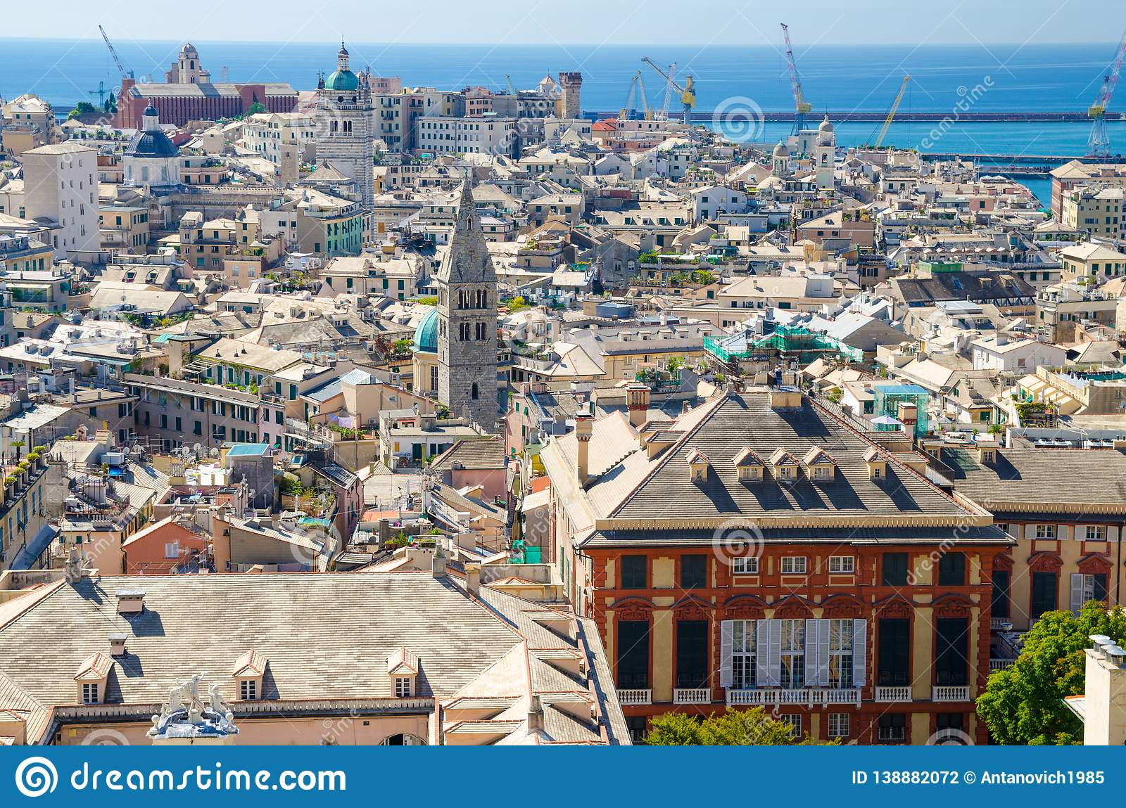 Top aerial scenic panoramic view from above of old historical centre quarter districts of european city Genoa