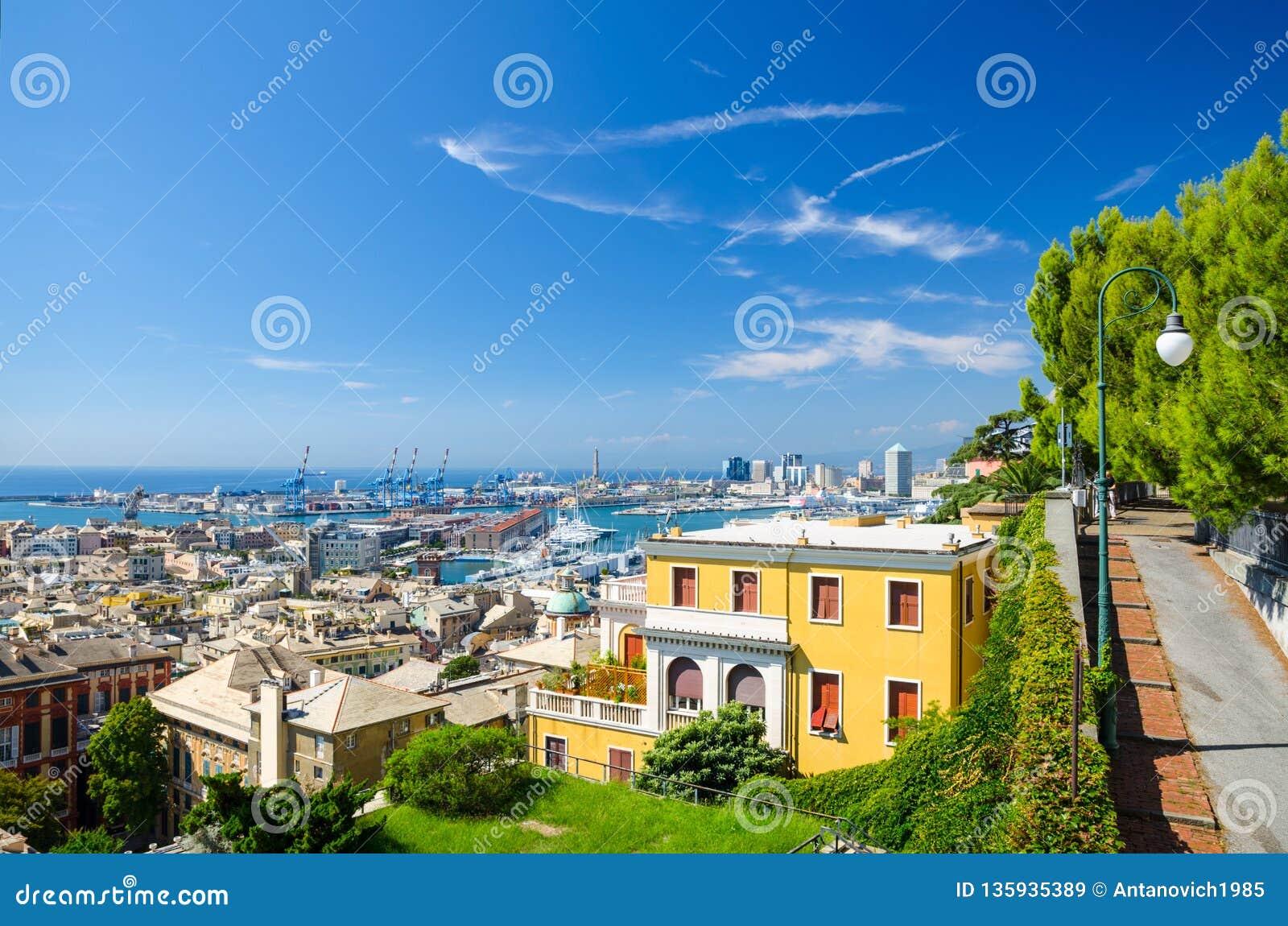 Top aerial scenic panoramic view of european city Genoa