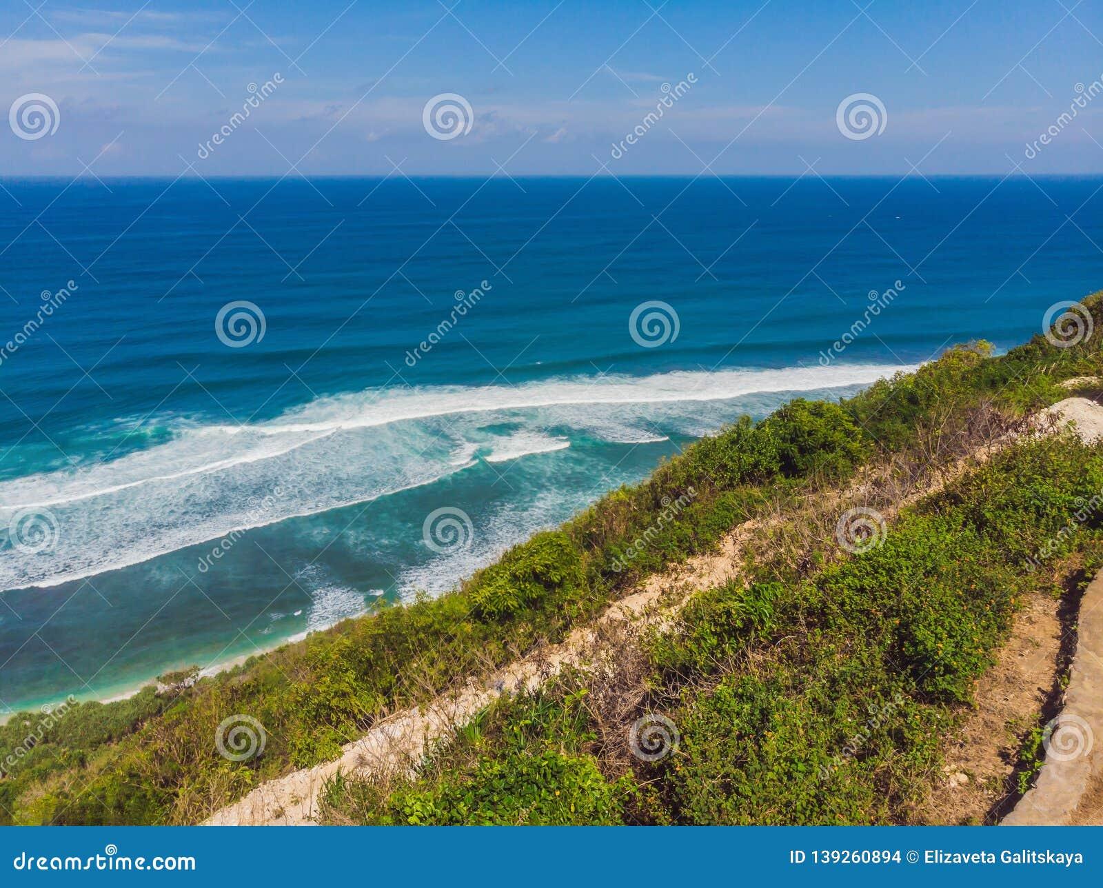 Top Aerial View Of Beauty Bali Beach Empty Paradise Beach Blue Sea