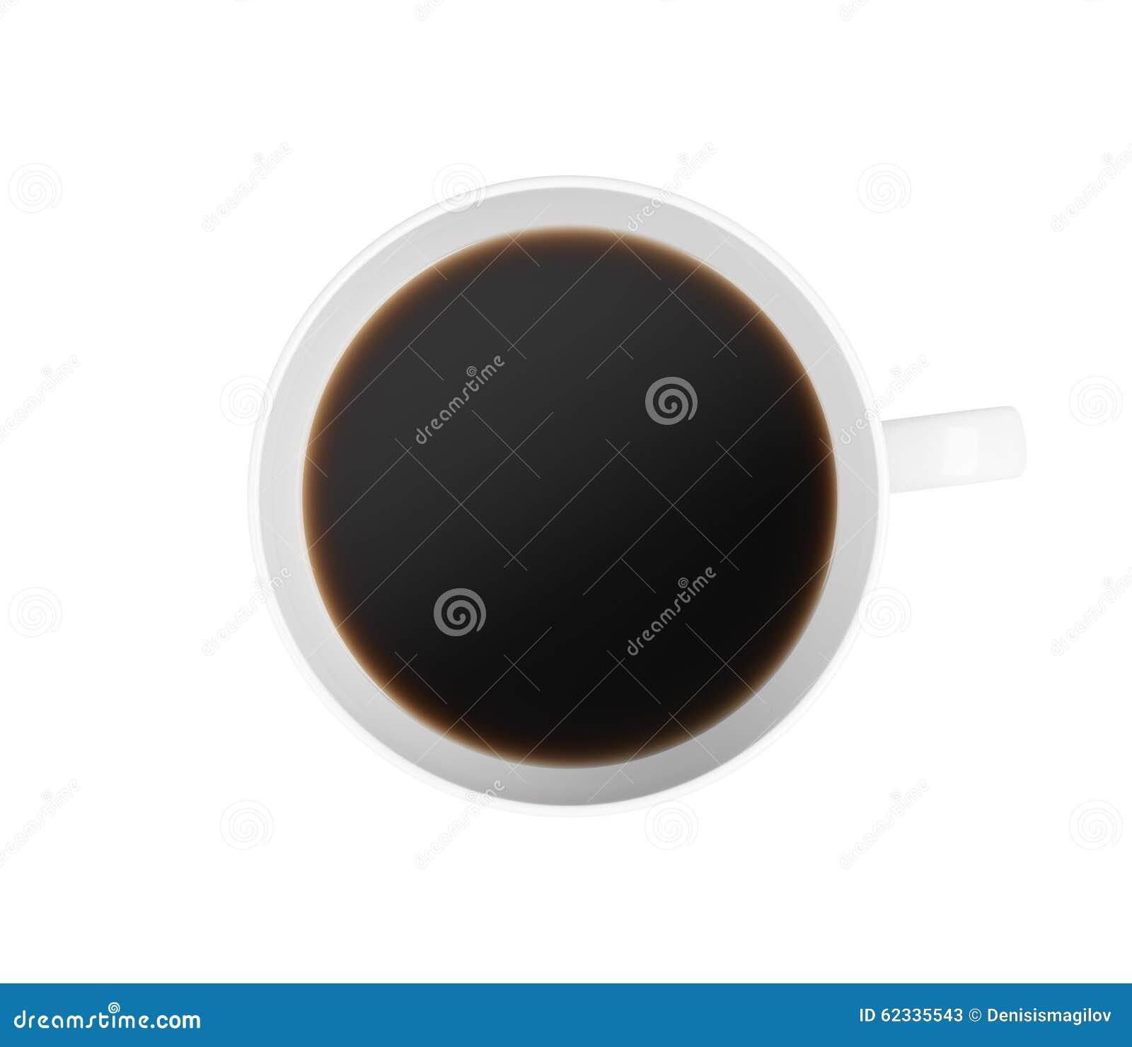 Top beskådar av en kupa av kaffe På vitbakgrund